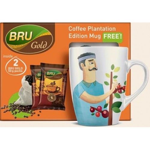 Bru Coffee Pouch - Gold (Free Coffee Plantation Edition Mug)