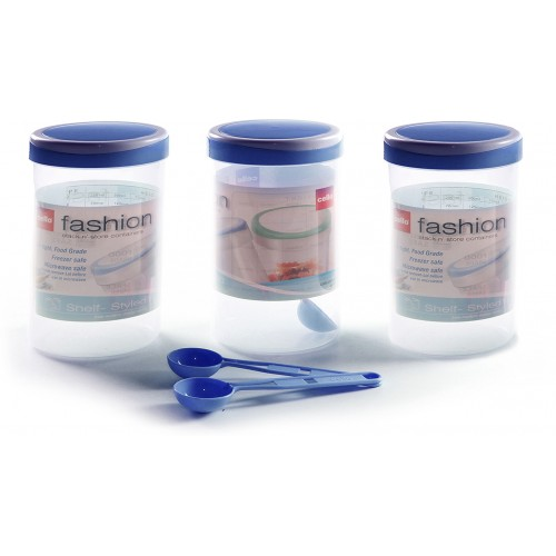 Cello Fashion-B Container 3 PC Set - Blue , 1500 ML