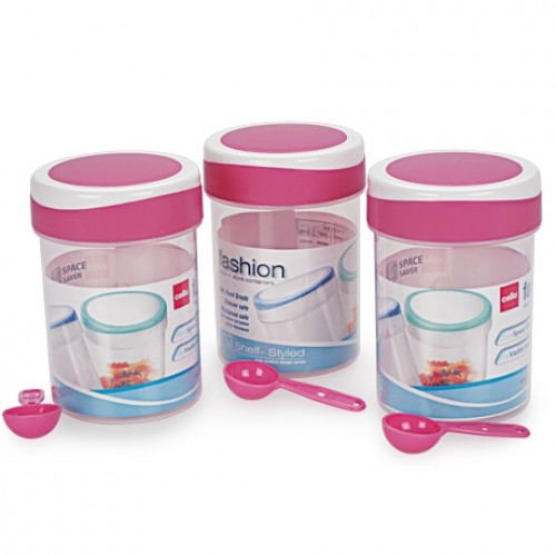 Cello Fashion-B Container 3 PC Set - Pink , 500 ML