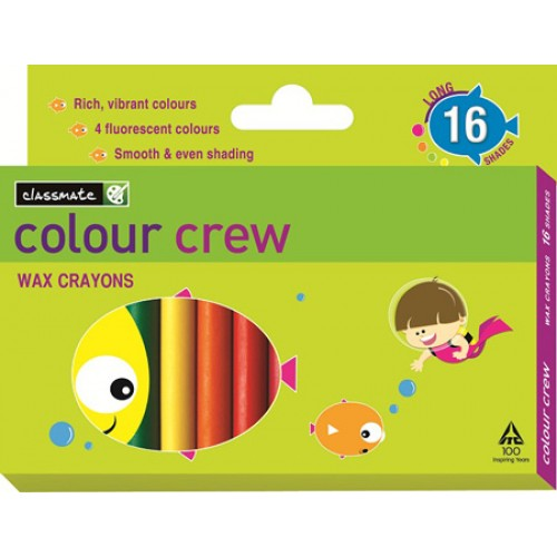 Classmate Wax Crayons - 16 Shades , 75 mm Length