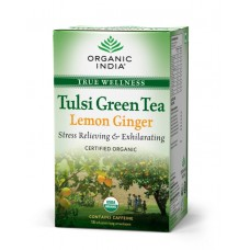 Tulsi Organic Green Tea -  Lemon & Ginger , 18 Tea Bags